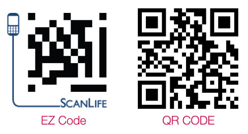 Example of QR code and EZ code