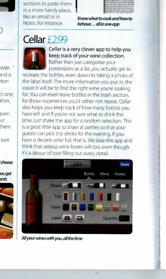 Cellar review in iCreate Magazine