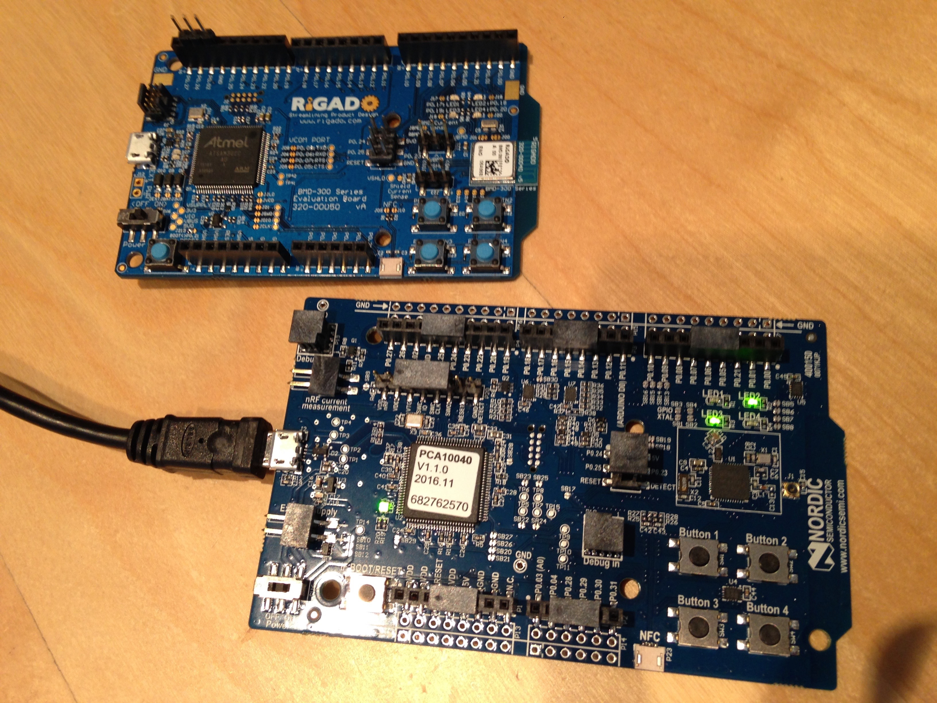 Nordic and Rigado dev boards