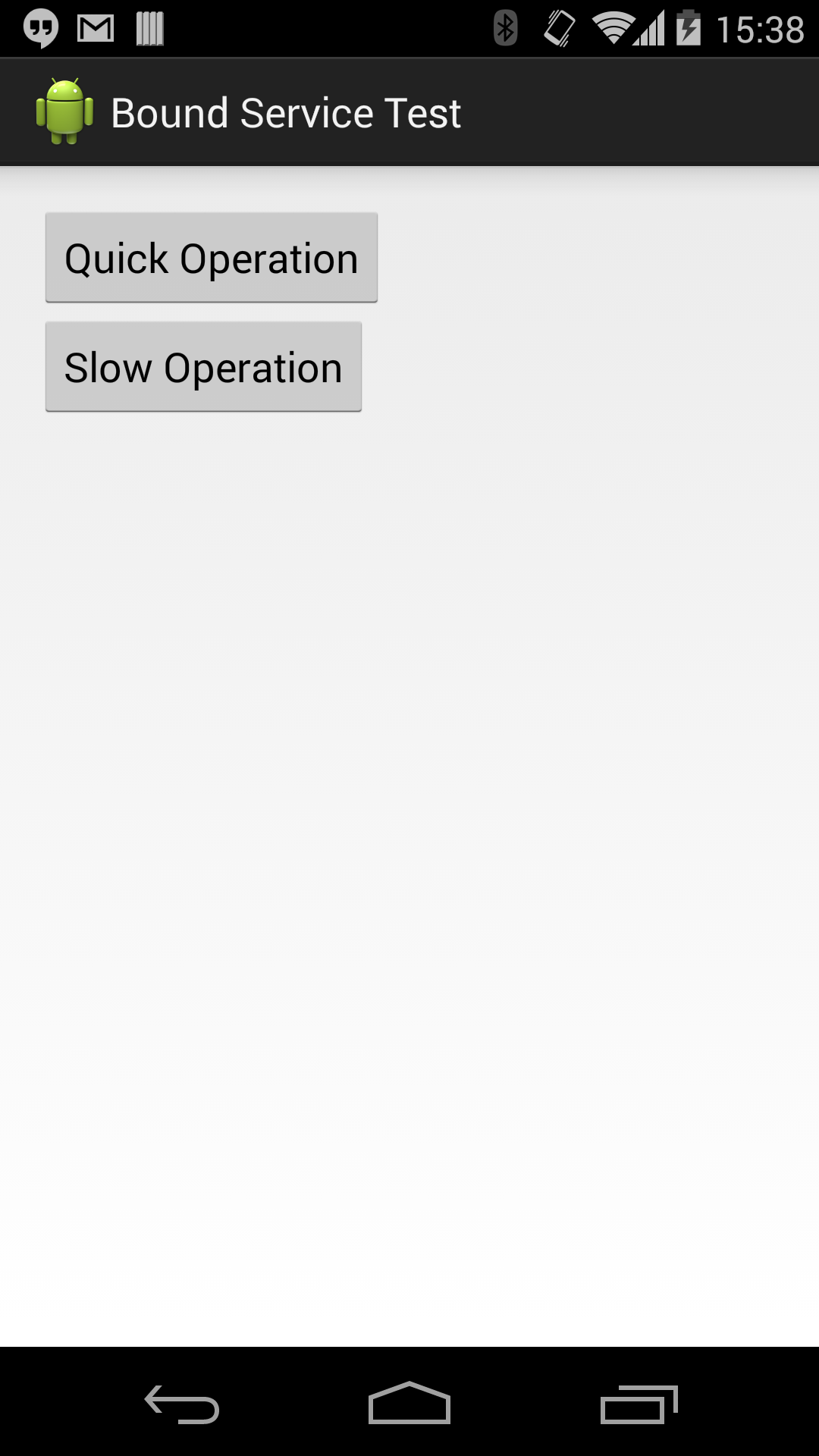 """Screenshot showing the test application with """"Quick Operation"""" and a """"Slow Operation"""" buttons"""