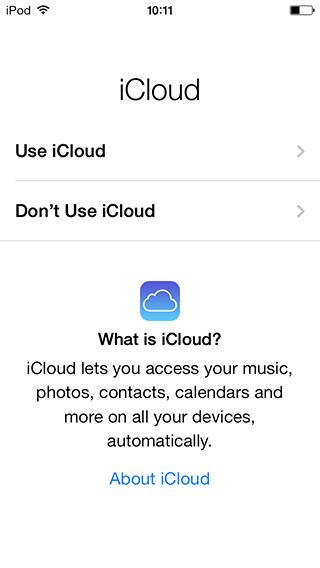 Initial iCloud dialog