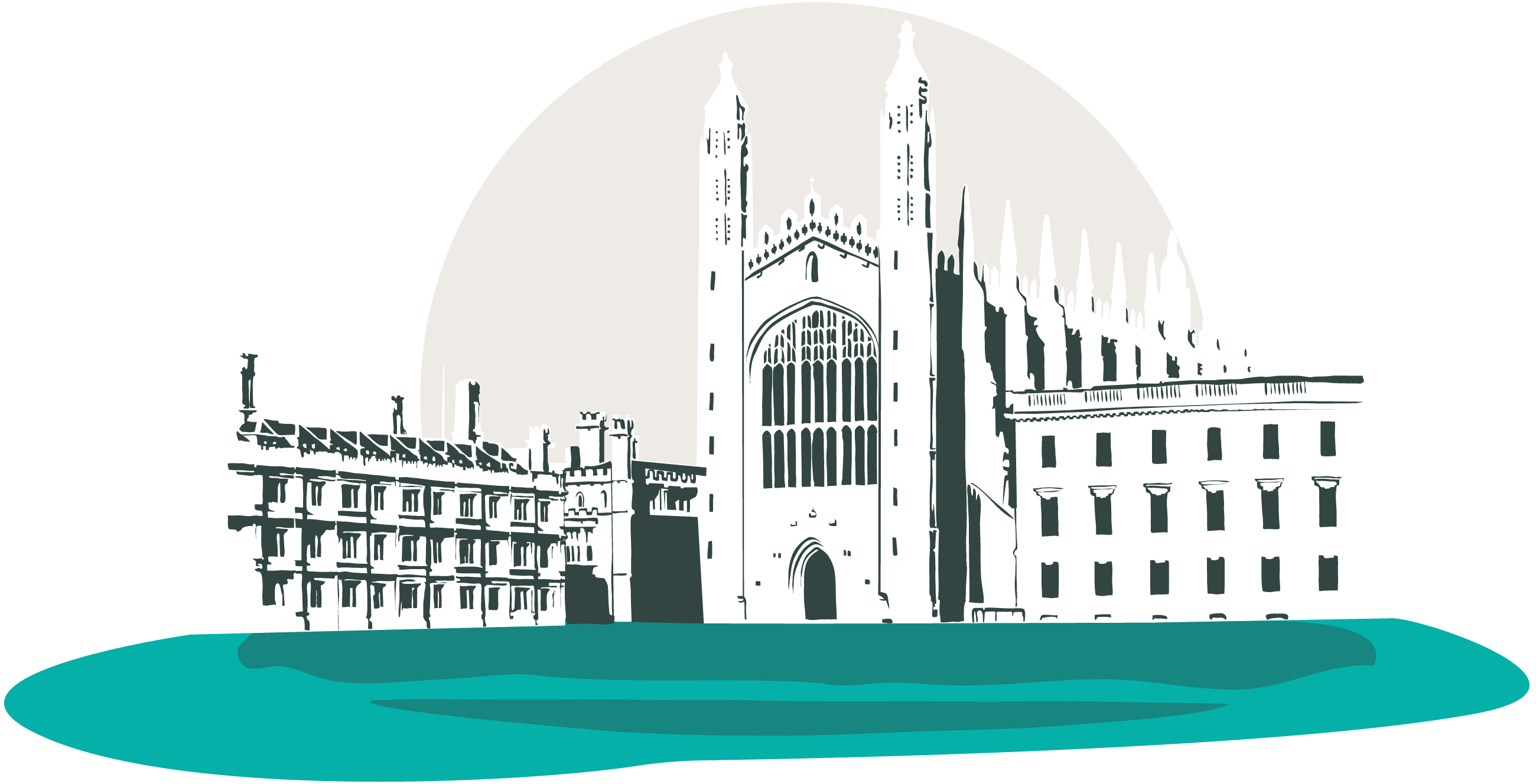A stylised picture of King's College Chapel in Cambridge, UK