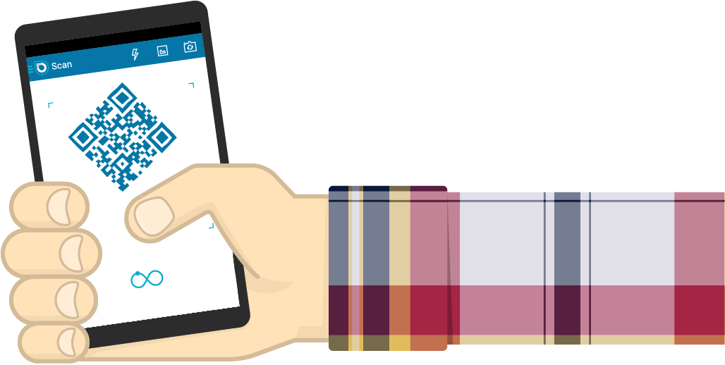 An arm, ending in a hand holding a mobile phone scanning a QR code